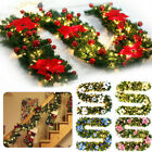 9ft Christmas Garland Pine Wreath LED Fairy String light Fireplace Stair Decor