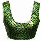 pinda Summer Women Rave Festival Holographic Iridescent Green Mermaid Scale Tank