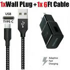 For Samsung Galaxy S10 S9 S8 Plus Fast Wall Charger 6Ft USB-C Type-C Cable Cord