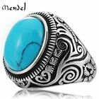 Внешний вид - MENDEL Vintage Native Indian Mens Oval Turquoise Ring Stainless Steel Size 7-15