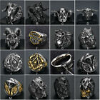 Mens Gothic Punk Skull Biker Ring 316L Stainless Steel Vintage Steampunk Jewelry image