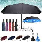 Double Layer Umbrella C-Handle Windproof Folding Inverted Upside Down Reverse