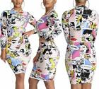 Womens Sexy Bodycon Dresses Turtleneck Long Sleeve Unique Patterns Pencil Midi D
