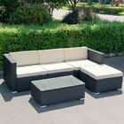 5pcs Home Garden Patio Rattan Wicker Sofa Couch With Cushion Furniture Set Us