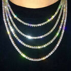 Mens Women Hip Hop Tennis Necklace Gold/Silver Bling Link Diamonds Chain Choker