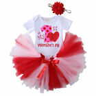 MY 1st Valentine's Day Baby Girl Outfit Clothes Tops Bodysuit+Skirt Outfits Set