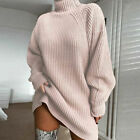 Women Turtleneck Knitted Jumper Dress Oversized Sweater Tops Pullover Mini Dress