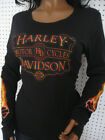 nwt HARLEY DAVIDSON *Sizzle* Long Sleeve Thumbslot  Black Tee Shirt Top $36.99 USD on eBay