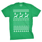 Ugly Christmas Sweater T Shirt Funny Holiday Party Tee Vintage Reindeer Pattern