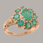 Solid 18ct Rose Gold Natural Emerald Womens Cluster Ring - Sizes J to Z