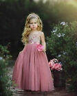 US Princess Baby Girls Dress Flower Solid Baby Lace Party Gown Casual Dresses