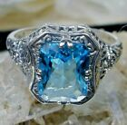 Simulated Aquamarine Edwardian/Deco Sterling Silver Floral Ring Made To Order