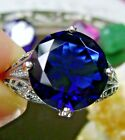 7ct Round Sim Sapphire Solid Sterling Silver Deco Filigree Ring Made To Order