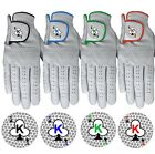 """Golf Gloves Glove 100% LEATHER White Blue Red Green Right/L Hand """"KING OF CLUBS"""""""