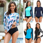 Women's Long Sleeve Rash Guard UPF 50 Sun Protection Surf Swimsuit Top Striped