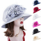 Satin Ribbon Womens Dressy Church Wedding Kentucky Derby Oaks Day Sun Hat A578