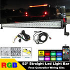 Offroad 5D Led Light Bar Spot Flood Combo 6000K White,RGB Multi Color Changing