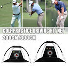 UK 2M/3M Golf Practice Driving Hit Net Cage Training Mat Aid With Cutting Holes