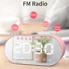 2000mAh Wireless bluetooth Digital LED Mirror Alarm Clock Speaker FM Radio Bass