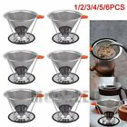 1-6x Stainless Steel Pour Over Cone Dripper Double-layer Coffee Filter+Cup Stand