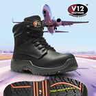 V12 BISON LEATHER WORK COMPOSITE SAFETY BOOTS Metal Free  UK Sizes 14-15-16