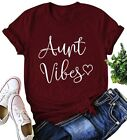 KIDDAD Women's Aunt Vibes Love Heart Print T-Shirt Casual Short Sleeve Aunt Gift