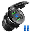 Dual QC 3.0 USB Ports Fast Car Charger Socket Outlet+LED For Marine Boat Truck