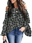 Farktop Womens Off The Shoulder Tops Leopard Bell Sleeve Blouses Flared Casual L