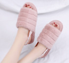 Women Slip On Slippers Slider Fluffy Fur Flat Sandals Ladies Mules Summer Shoes