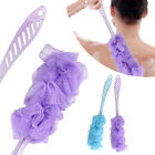Long Back Scrubber Shower Bath Sponge Pouf Wash Spa Brush Puff Mesh Loofah Stick