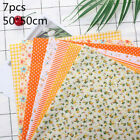7xCotton Fabric Twill Floral Series Sewing Quilting Fat Quarters Patchwork Cloth