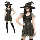 Ladies Witch Costume Short Dress Halloween Black Gold Fancy Dress Adult Outfit