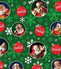 Coca Cola Santa Fabric Snowflakes on Green OOP Quilt Shop Quality Cotton $13.81  on eBay