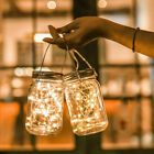 20 Led Mason Jar Lid Fairy String Lights Solar Garden Lamp Party Home Decor Uk