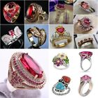 Gorgeous Women 925 Silver Jewelry Wedding Ring Oval Cut Ruby Ring Size 6-10