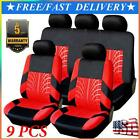 9x Full Set Universal Auto Seat Covers Protector For Car Truck SUV Van Black+Red