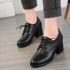 Women's Chunky Mid Heel Leather Pointed Toe Lace-up Oxfords Brogue Casual Shoes