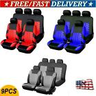 9x Full Set Universal Auto Seat Covers Protector For Car Truck SUV Van Black+Red $26.59 USD on eBay
