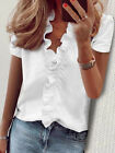 Womens Short Sleeve Shirts Blouse Ladies Ruffle V Neck Top T Shirts Plus Size UK