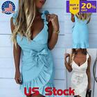 Womens Summer Bodycon Sleeveless Short Mini Dress Party Beach Holiday Wrap Dress