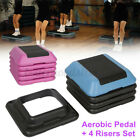 16'' Aerobic Step System 4 Risers Fitness Exercise Stepper Cardio Workout Pedals image