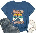 Happy Camper Shirt for Women Funny Cute Graphic Tee Short Sleeve Letter Print Ca