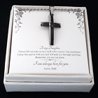 To My Daughter from Dad - Stainless Steel Cross Necklace - Message Card