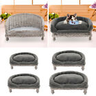 Handmade Wicker Half Moon Raised Pet Cat Dog Sofa Couch Cushion Fur Blanket Bed