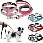 Suede Leather Rhinestone Dog Harness Vest Leash Leads For Small Pet Chihuahua UK
