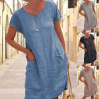 Women Summer Crew Neck Short Sleeve Midi Dress Solid Casual Loose Pocket Dress