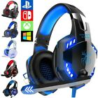 Wired 3.5mm LED Headphones With Mic Stereo Super Bass Headset Over the Ear