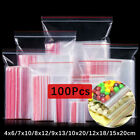 100 Pcs Resealable Zip PE Clear Lock Bag Self Seal Clear Plastic Poly Lock Bags