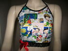 Red Betty Boop top Black White Lace Halterneck Crop Festival Party Retro Holiday $37.47 AUD on eBay