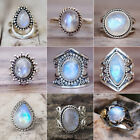 Ancient Silver Ring White Fire Opal Moon Stone Wedding Engagement Women Jewelry